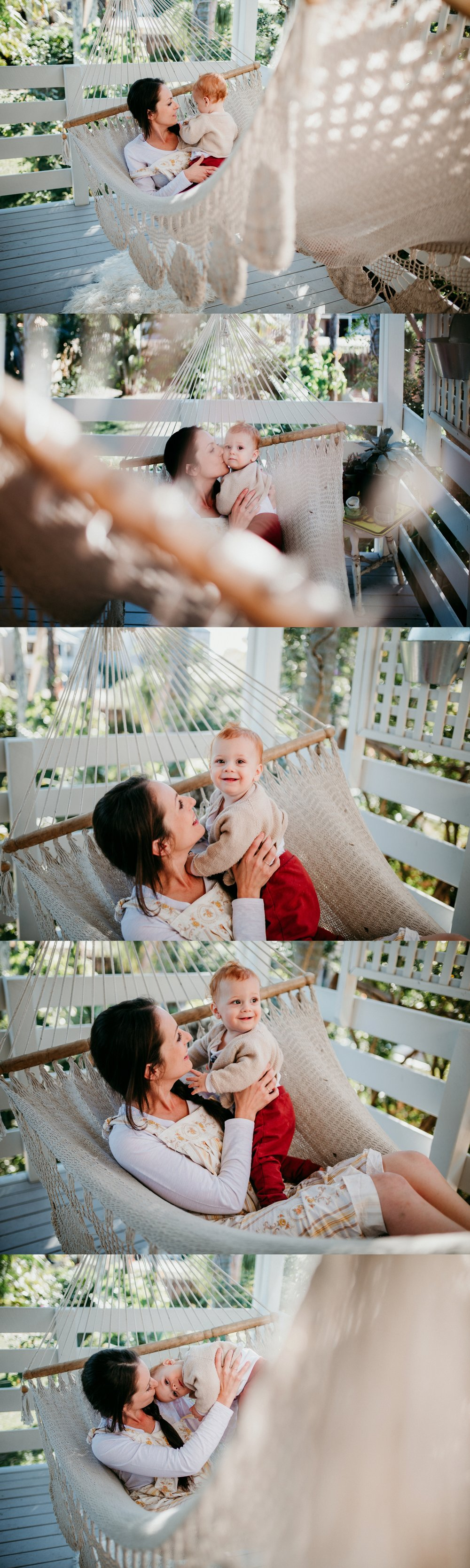 Photos of a mum and her son together in an outdoor hammock. Natural, relaxed family photos in Brisbane. Photography at home. Photos of Skye from the Young Folk Collective Brisbane Australia.