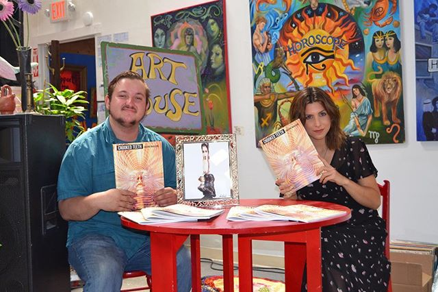 "Our editor-in-chief Andy Halsig (@andyhalsig) and our fiction/visual art/music editor Cori Amato Hartwig (@coricobain) at the release event for our debut issue ""Summer In The City"" at The Art House in Berkeley, CA 7/9/2017. You can get a copy of the issue through supporting our Kickstarter, link in our bio! https://www.kickstarter.com/projects/1336722882/crooked-teeth-literary-magazine/description"