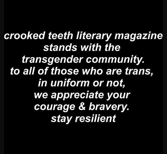 fuck @realdonaldtrump & his administration. we're not a partisan publication (not even a political magazine), but when our leaders threaten human rights, we stand up and fight back. --cori amato hartwig, co-founder & editor of @crookedteethmag. ••• to anyone who is struggling right now, please do not hesitate to reach out. we stand with you.