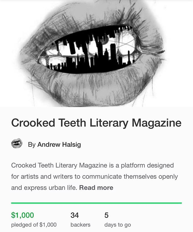 We made it to our goal of $1000! Thank you to everyone who has supported us thus far (whether you donated or contributed art or simply just follow our page)! https://www.kickstarter.com/projects/1336722882/crooked-teeth-literary-magazine