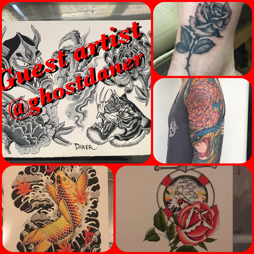 And now this week we have Dane from Red Deer here. He does great work and still has some time available. He has lots of pre drawn designs ready to go, or come by and talk to him to draw you that something special.
