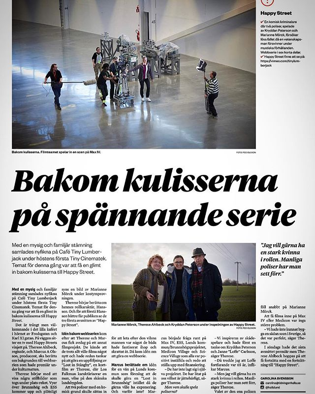 Great article today about Happy Street, in the swedish newspaper Sydsvenskan!🙌🏽 #happystreet #happystreetwebseries #webseries #scandinaviancrime #nordicnoir #detective #comedy #mystery #archeology #history #future #film #science #exciting #maxivlaboratory #maxiv #mariannemörck #kryddanpeterson #article #press #swedish #sweden #brunnshög #lund #tinylumberjackfilm #inthepaper #news