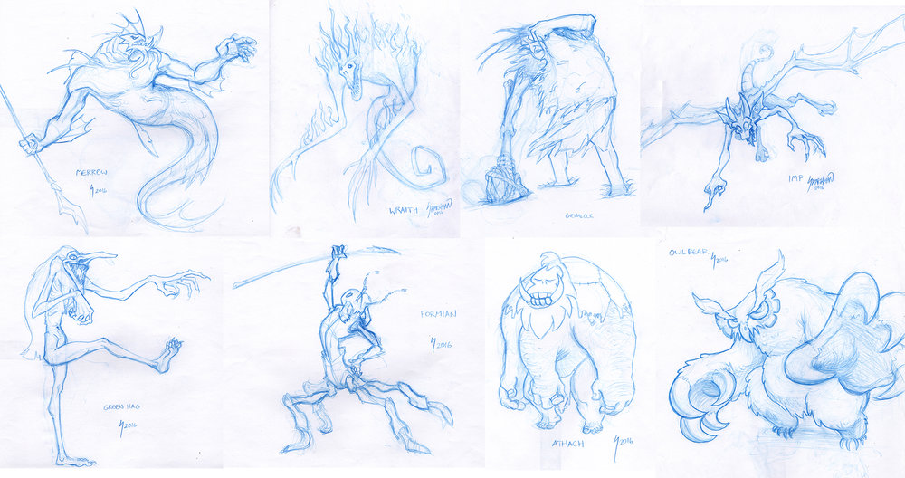 Blue Pencil Monsters