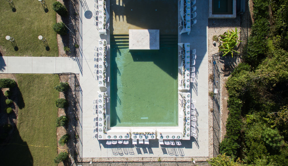 Overhead view of private pool area
