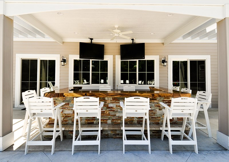 Tiki bar outdoors at the cabana