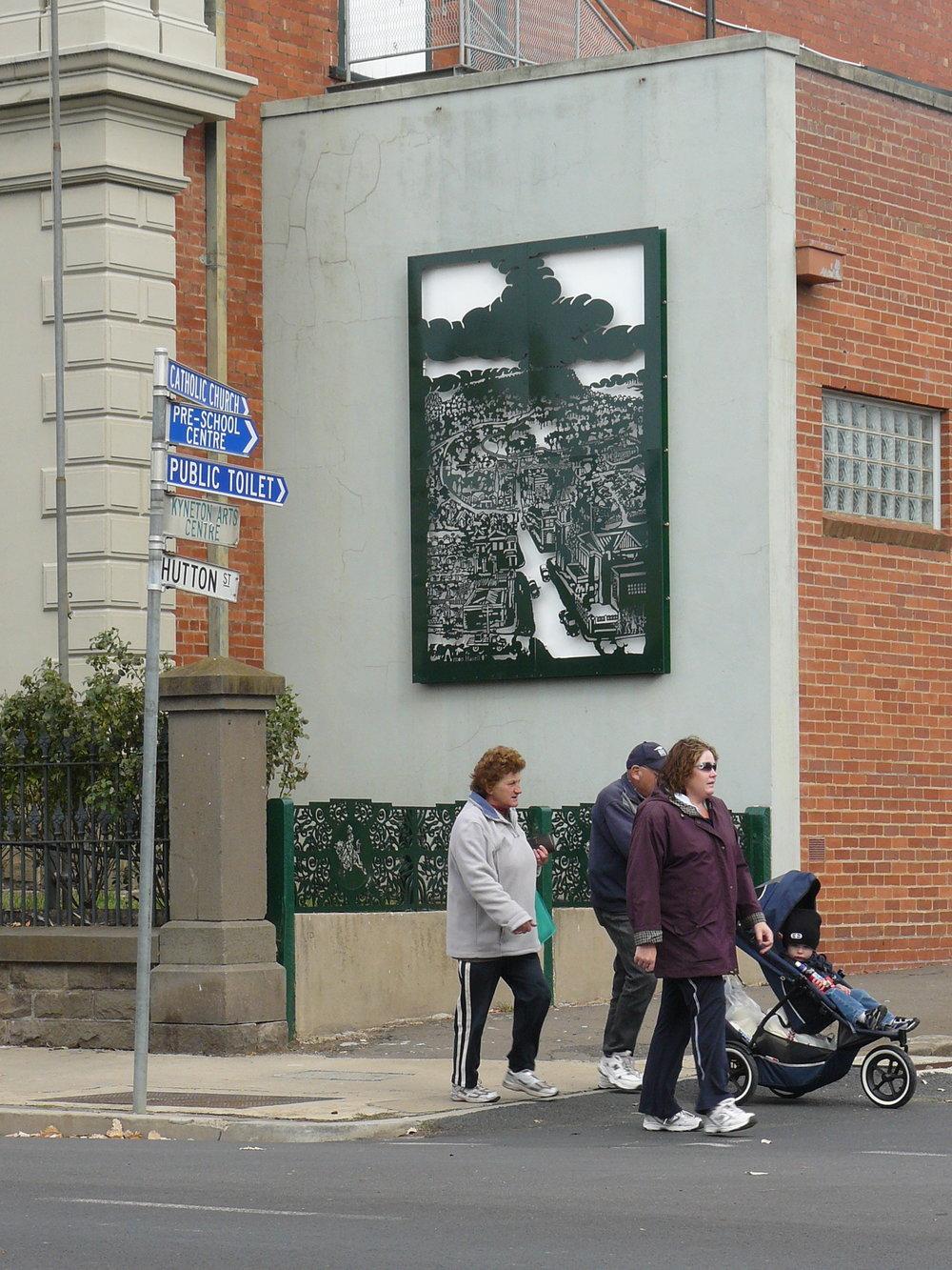 5 Hasell, Kyneton Wall Panel' lasercut steel, 2.5m by 5 m, Kyneton Town Hall, 2007.JPG