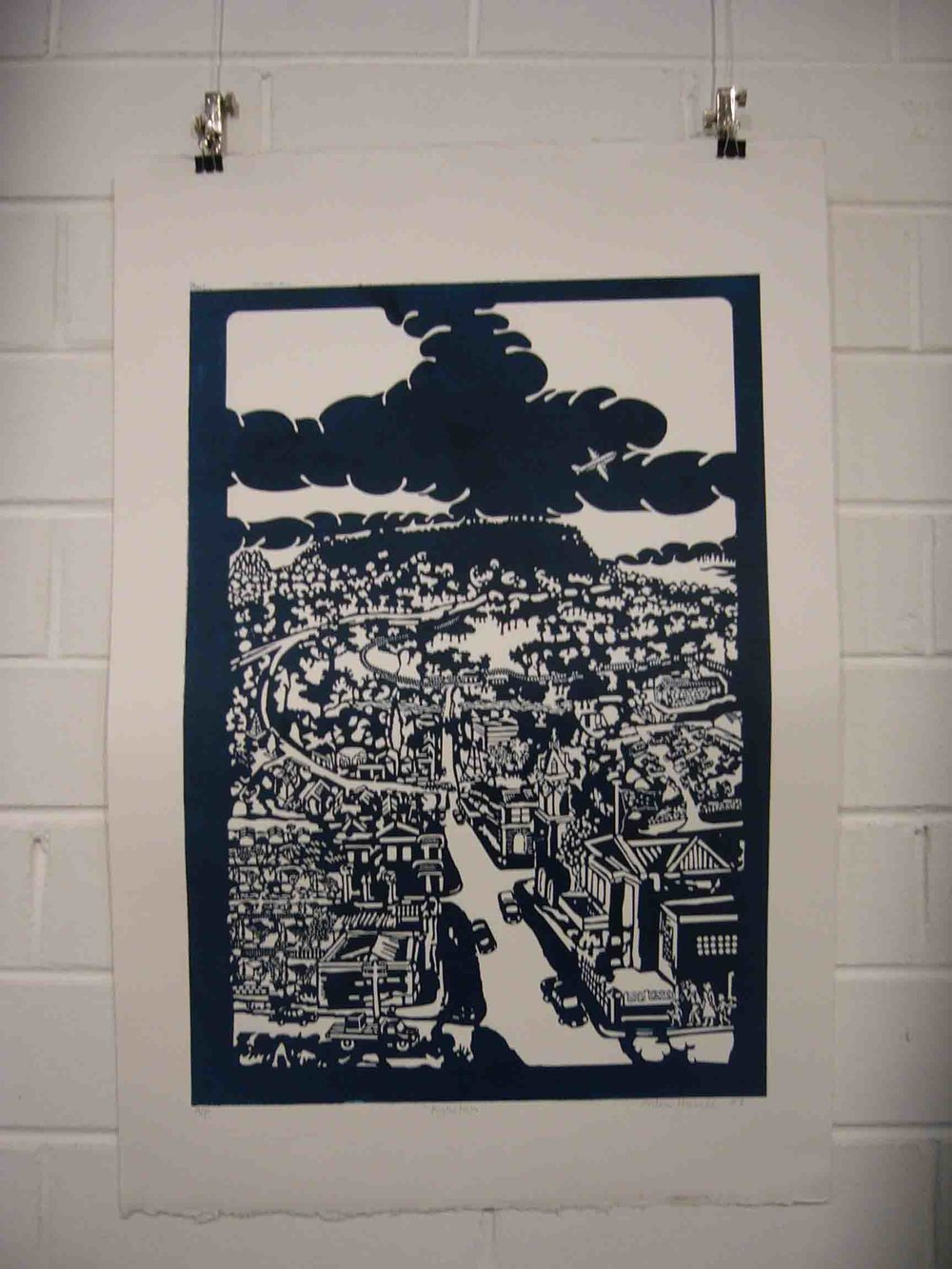 'Kyneton' 2006  0.5 by 0.4 laser cut plate relief print
