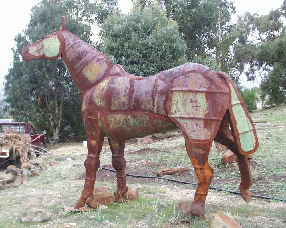 'Horse'  1989 2.2m by 3m by 0.6m, steel