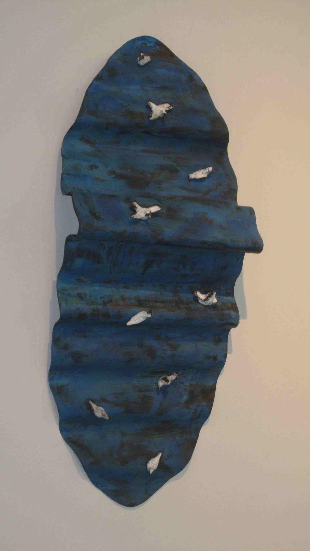'Seabirds on a blue wave'  2011 0.5m by 0.3m, Bronze, copper & patina