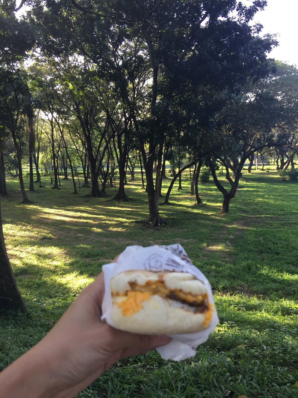 I ate my Sausage McMuffin with Egg al fresco.