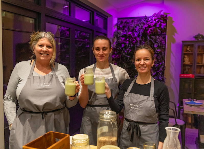 Sampling the smoothie we made on anti-ageing skin nutrition course in February