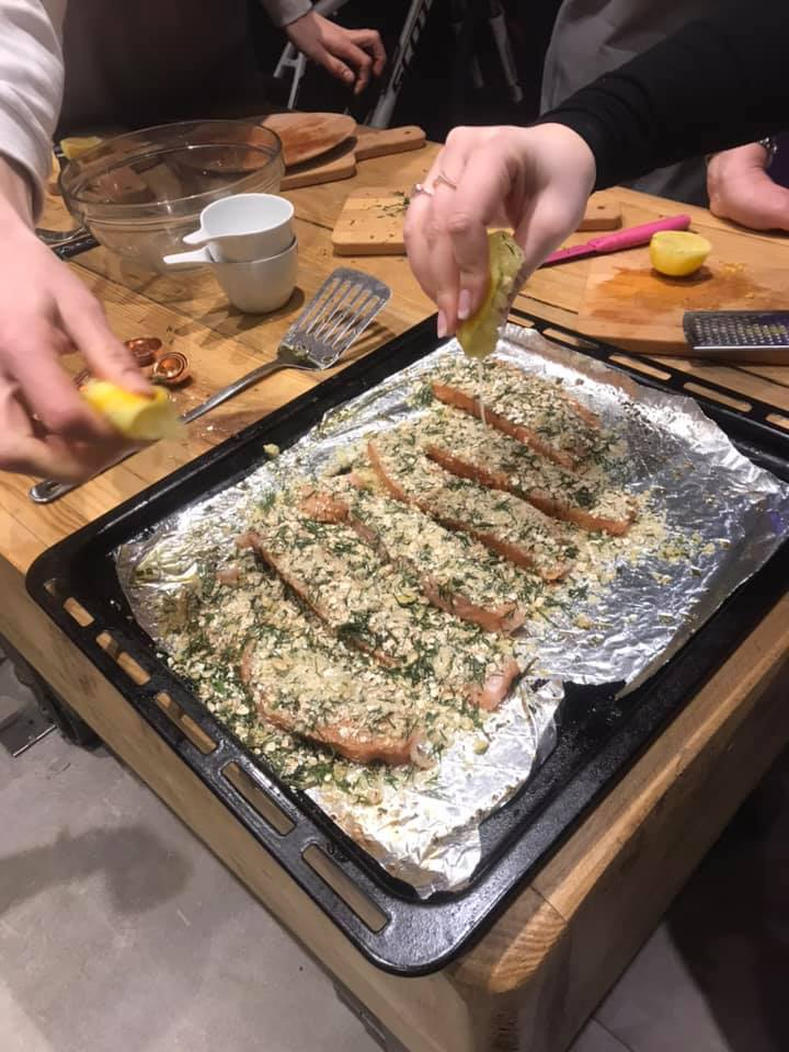 Making the zesty oat topped salmon on the Boost your Brain Power course in March