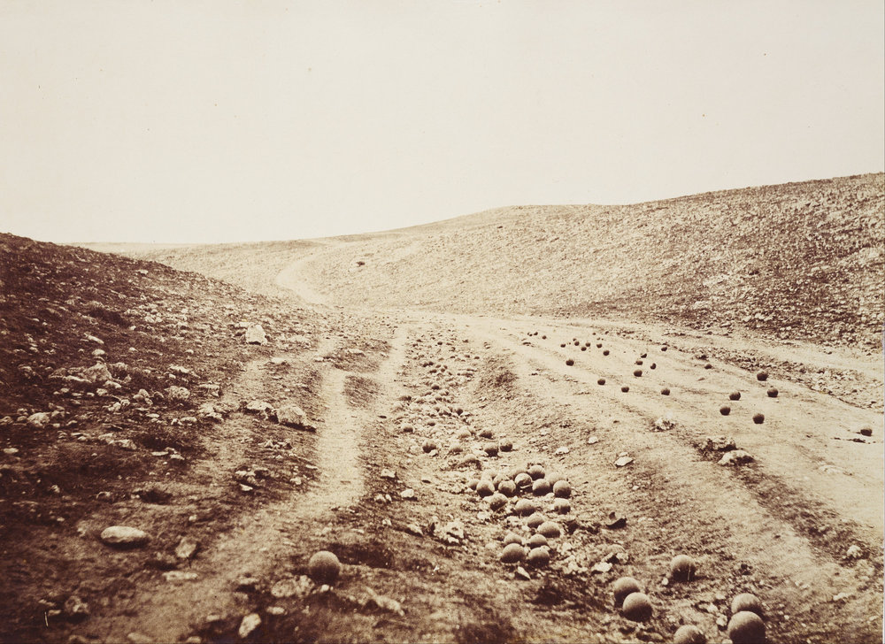 "Photographers Eye looking at the what could be called the 1st war photographer -Roger Fentnon ""Valley of the Shadow of Death"" 1855 (Getty collection)"