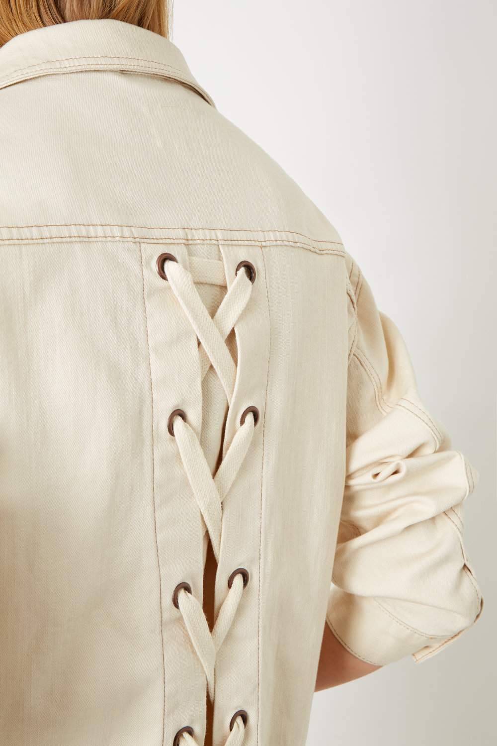 3 pack laces: Ivory White Lace Back Sustainable Denim Jacket £215