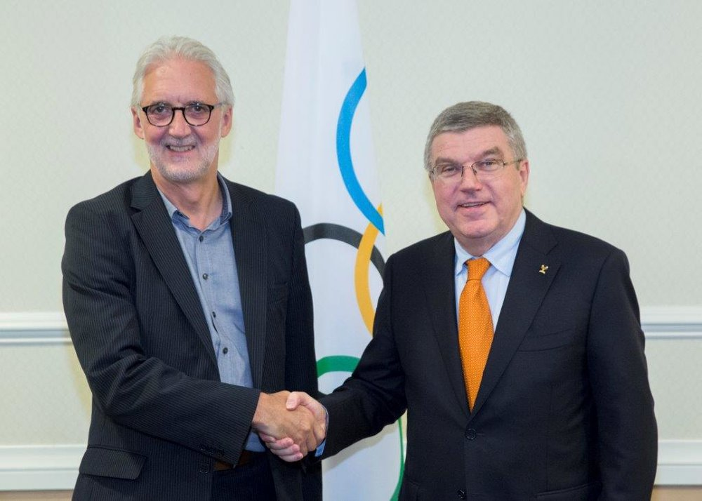 Brian Cookson and Thomas Bach of the IOC