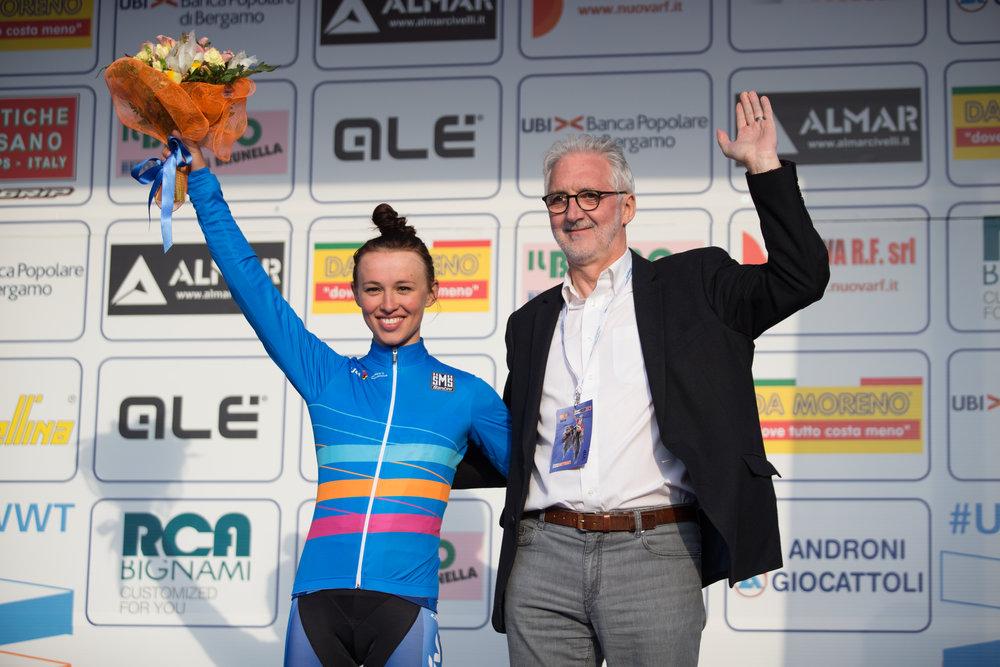 Katarzyna Niewiadoma and Brian Cookson