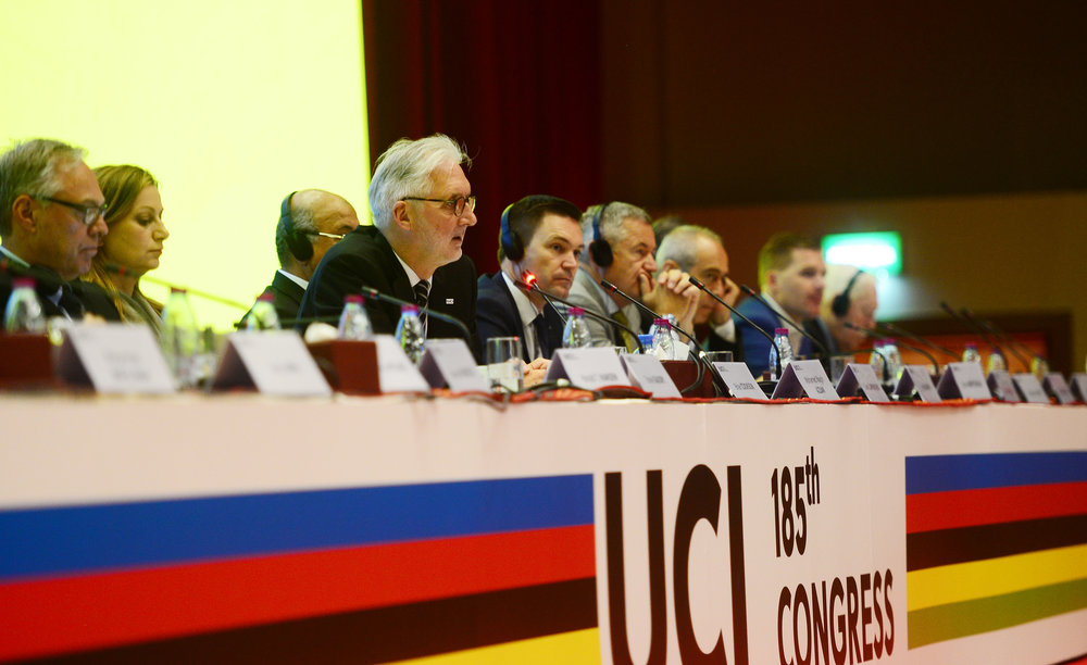 Brian Cookson at the 185th UCI Congress