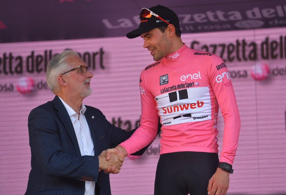 Dumoulin and Brian Cookson at the Giro