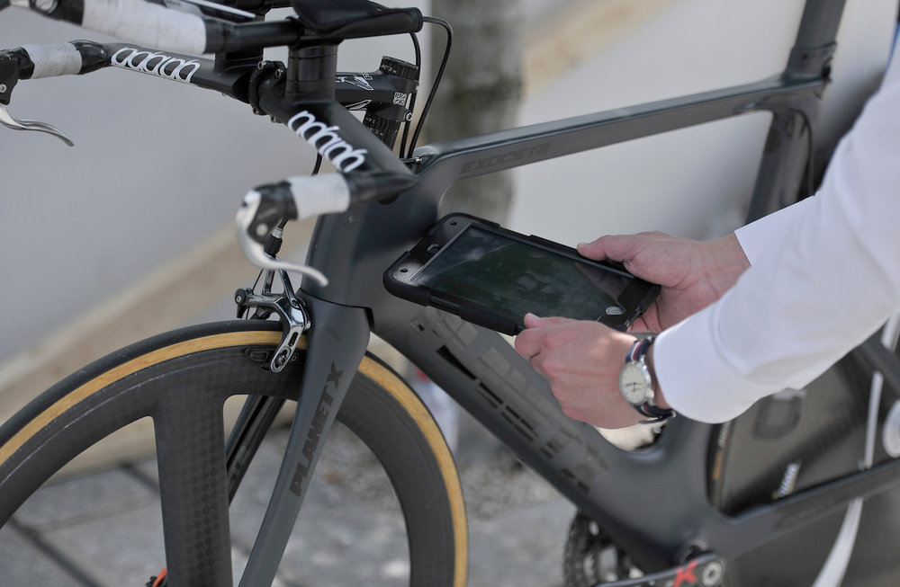 Bike under-going mechanical doping checks