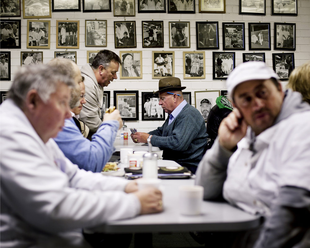 Business in the cafe within Billingsgate market
