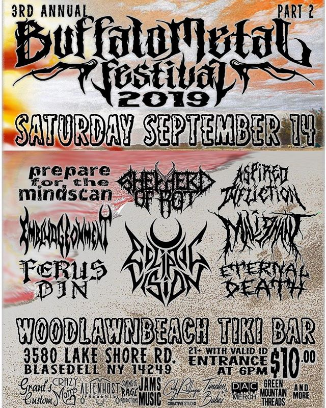 We're bringing brutality to the beach this summer for Buffalo Metal Festival, September 14th at Woodlawn Beach Tiki Bar! Join us for a massive lineup featuring some of the heaviest acts across CNY, and bring your shades 😎🔥