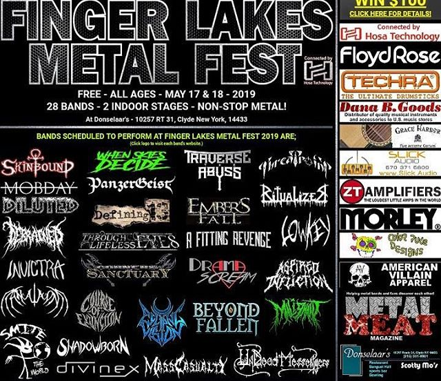 Finger Lakes Metal Fest is coming up quick! This is a completely FREE event showcasing an absolutely stacked lineup of CNY metal. Anyone who catches our set will be one of the first to hear some of the new brutality we've been cooking up 🔥 See you there!