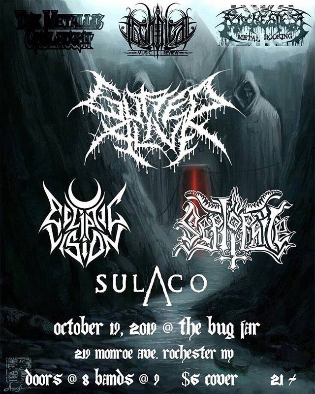 It's never too early to start getting excited for Halloween right? Join us for a brutally heavy night of death metal at Headbanger's Halloween 2019! We will be bringing some heavy groove to Rochester with our brothers in Gutted Alive, Seplophile, and Sulaco - Thank you to Technical Music Review, Metallic Onslaught and Rochester Metal Booking for making this possible. See you there! 🎃