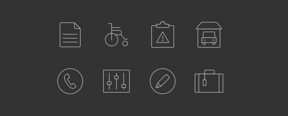 Icon set for General information.