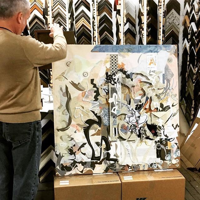 "It's excitin''! At the framers  choosing a mat -""Winter's Arrival"" 40""x40"" 🔜. Shout out to: @customartconcepts . . . #almostdone #artframe #finaltouch #hardchoices #artforsale #contemporarydesign #abstract_art #customframing #artandstyle #finishedart #getreadyforit #decisionmaking #artgalleries #almostfamous #chooseyourstyle #artincanada #modernart #artappreciation #jobdone"