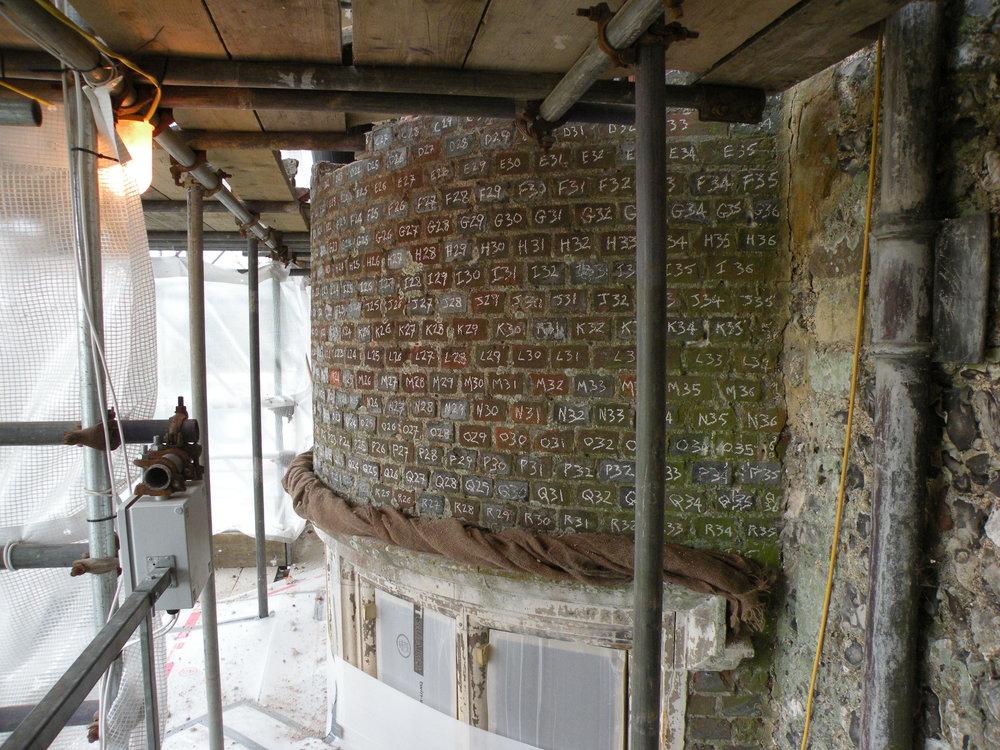 Glynde Place - Phase II - During take down of bays numbering of bricks.JPG