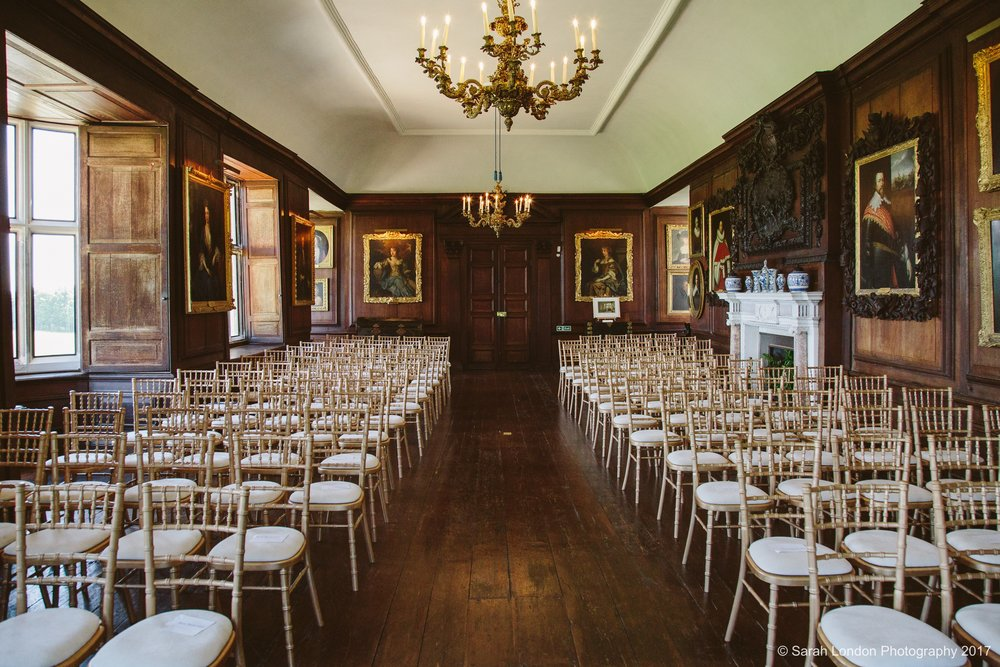 The Gallery - A formal room with a great sense of grandeur, licensed and so perfect for a civil ceremony.Wood panelled with huge bay windows overlooking the park, original dark wood floors and artworks on the walls.