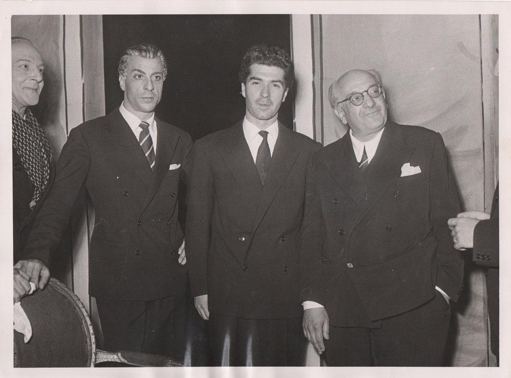 con Giorgio Strehler e Piero Carnabuci, Piccolo Teatro di Milano, 1950