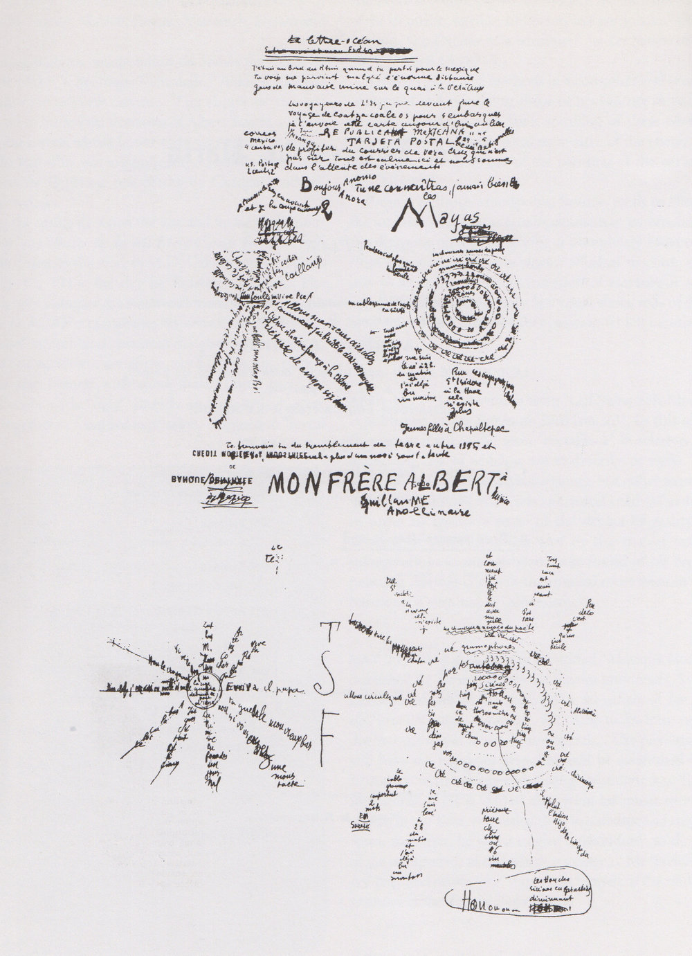 G. Apollinaire,  Lettre-Océan , calligramme, 1913