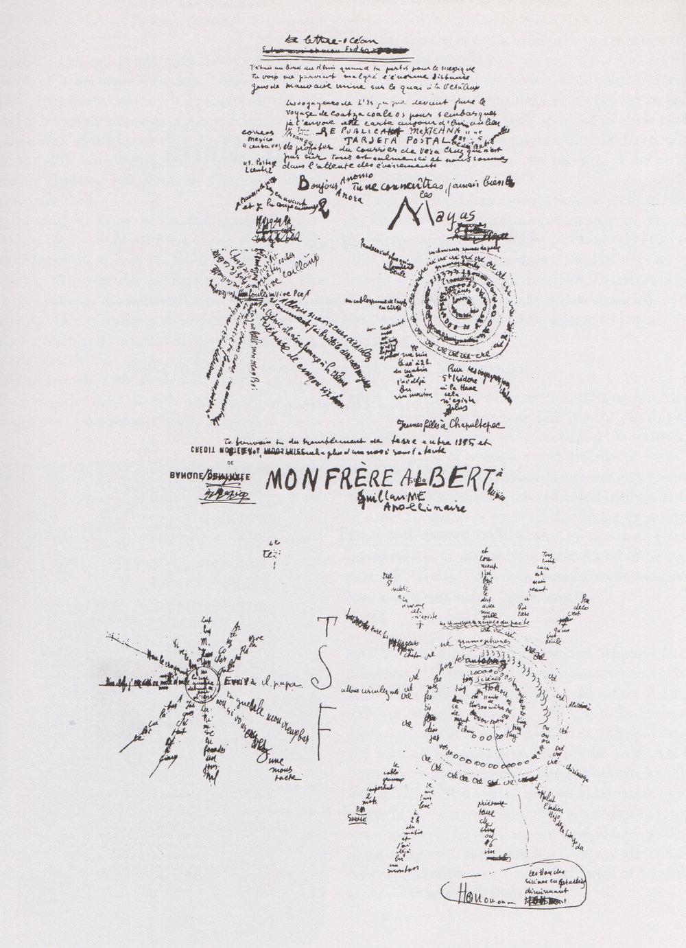 Guillaume Apollinaire, Lettre-Océan, calligramme, 1913