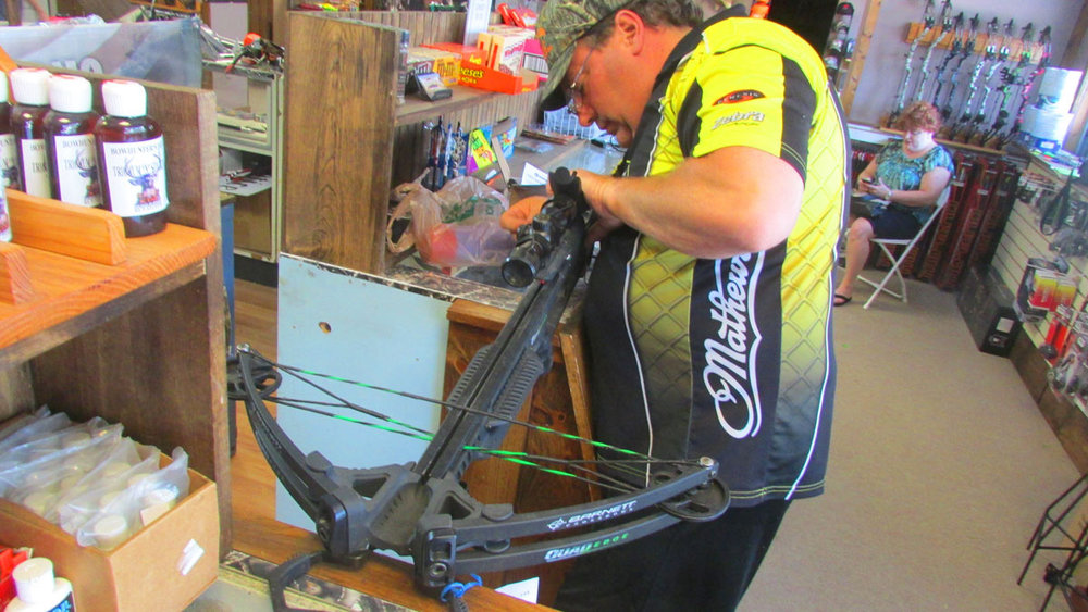 Shane working on a crossbow