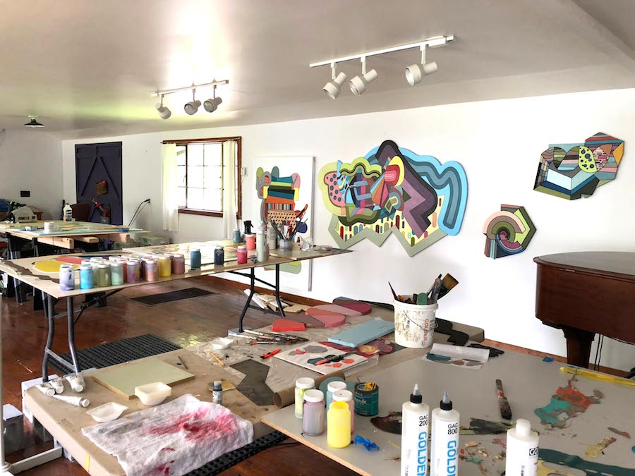 Joey Slaughter's studio at the Hambidge Creative Residency Program, Rabun Gap, Georgia, summer 2018