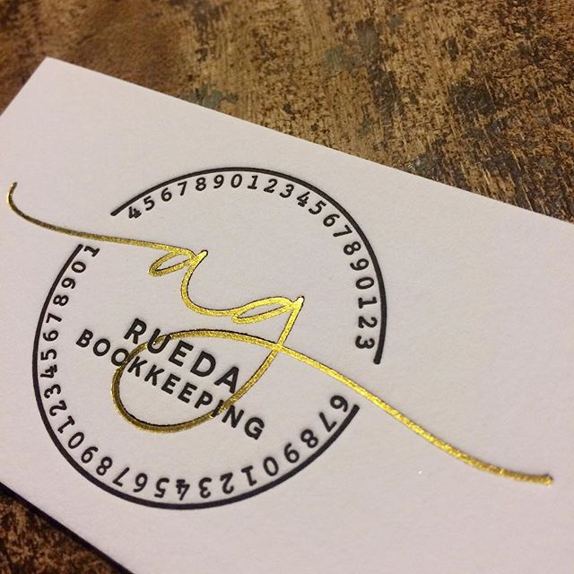 In progress! Gold foil stamped letterpress business cards with gold edges on Lettra 220lb.  #letterpressbusinesscards #goldfoil #letterpress #weddinginvitations #stationery #supportlocalartists