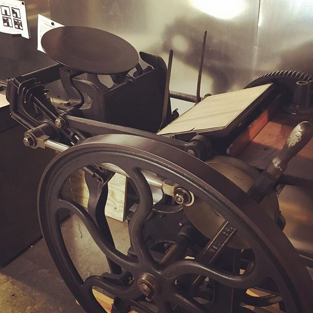 Our newest press! We have three Vandercooks and now a beautiful C&P in the studio. #letterpress #press #printmaking #EAST
