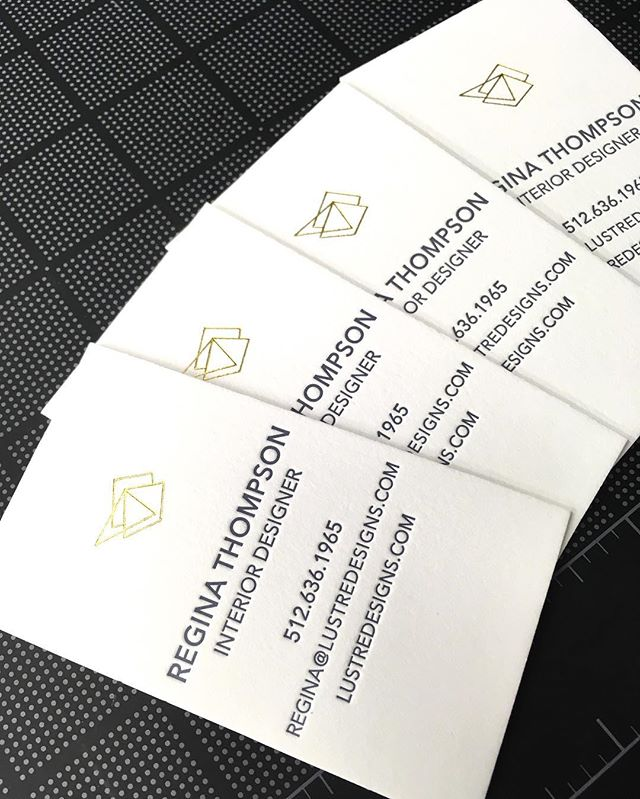 Business cards in progress. Letterpress printed on 220 lb Cranes Lettra and shiny gold foil stamped logo.  #businesscards #letterpress #hotfoilstamping #logo #goldfoil