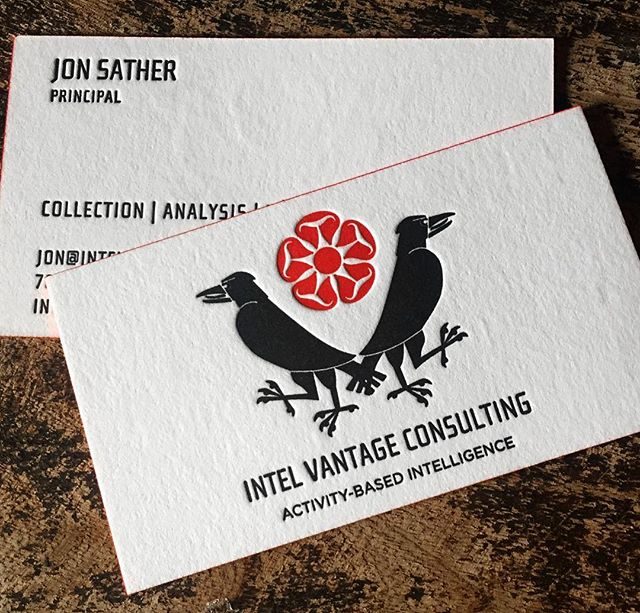 Custom design and letterpress on Cranes Lettra 220 lb, red painted edges. . . #letterpress #businesscards #logos #custom #supportlocalartists #edgepainting