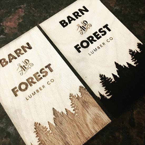 Laser engraved wooden business cards by Sanctuary Letterpress.