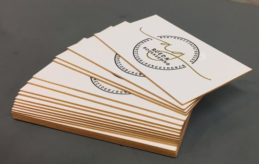 Gold foil stamped with matching edges by Sanctuary Letterpress