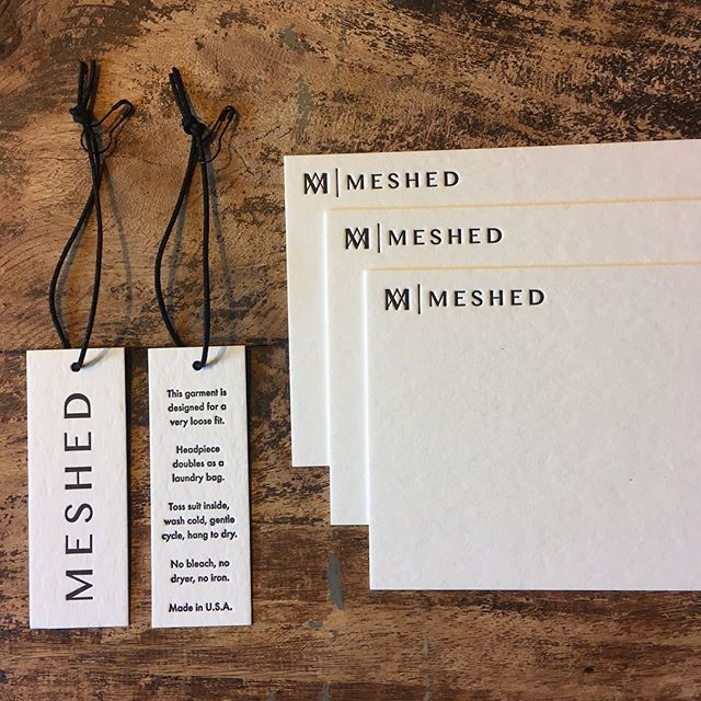 Letterpress hangtags and stationery. A nice little collaboration with @werrimedia to create a custom website and handmade branding materials for MESHED.