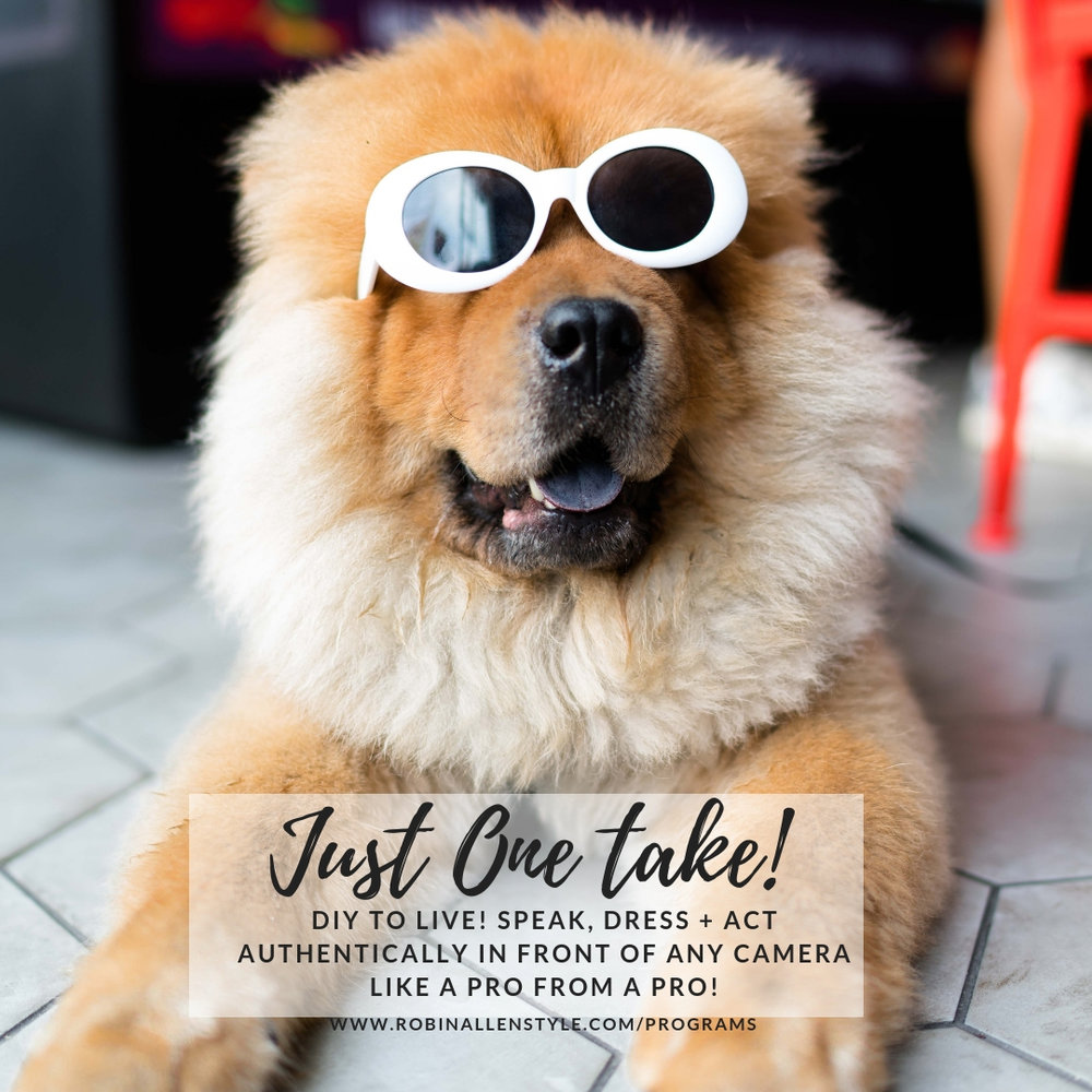 Just One Take Program. - 5-week Interactive Video Series.DIY TO LIVE! SPEAK, DRESS + ACT AUTHENTICALLY IN FRONT OF ANY CAMERA LIKE A PRO FROM A PRO!Featured Topics:The Brand. The Set-up. The Scene. The Style. The Performance.