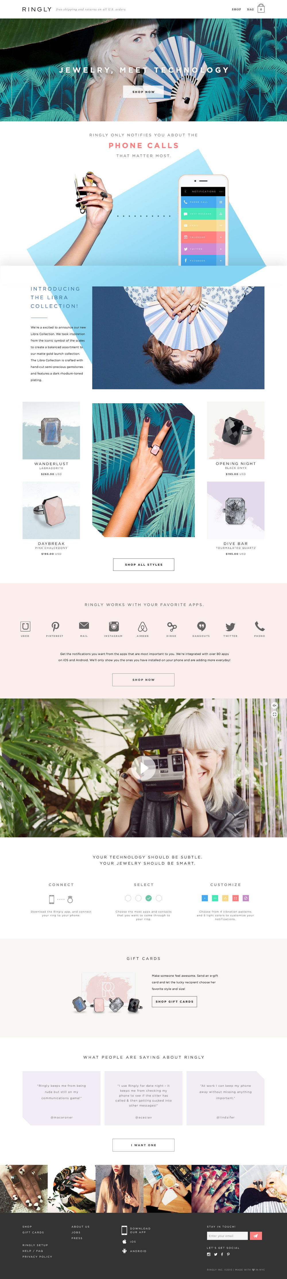Ringly e-commerce landing page