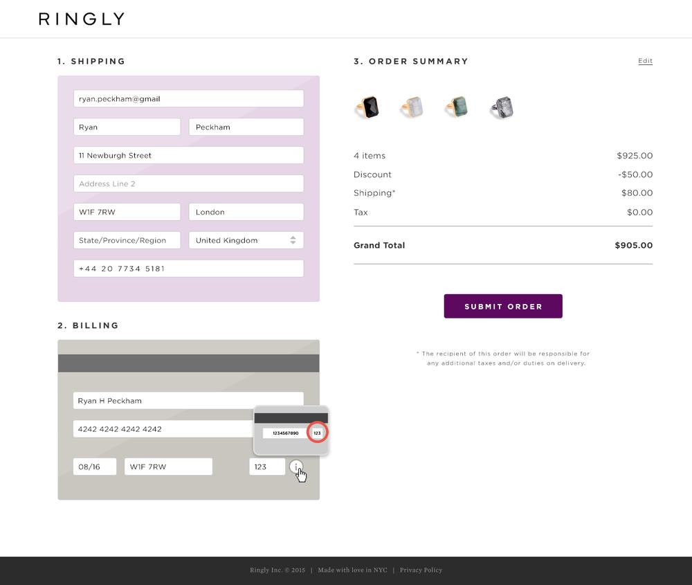 Ringly e-commerce checkout