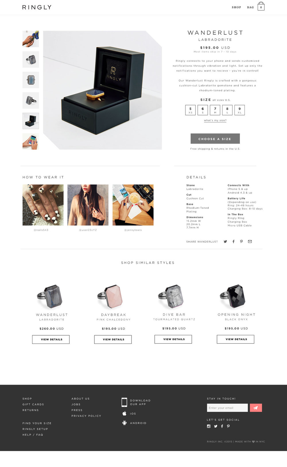 Ringly e-commerce product page