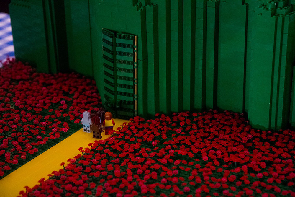 Closeup of Emerald City lego display with Wizard of Oz characters by BrickManGraeme - Historia Wedding and Event Planning