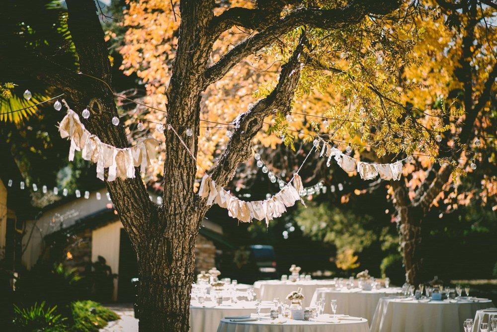 Sweet and rustic outdoor cottage wedding reception
