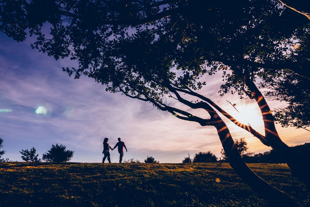 Engaged and happy couple walking and holding hands in the sunset